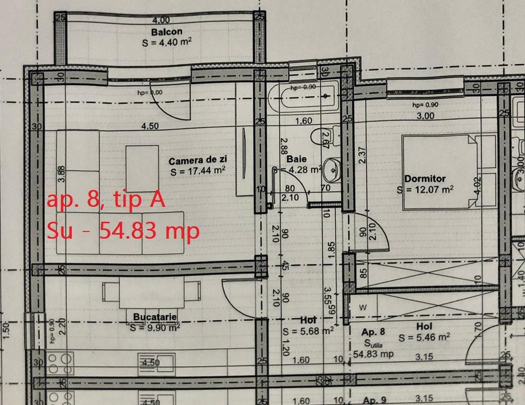 Apartament 2 camere de vanzare loc de parcare in GIROC - ID V45 4