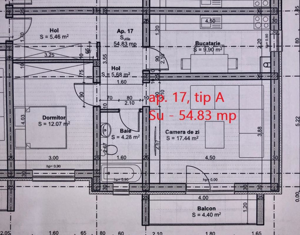 Apartament 2 camere de vanzare balcon loc de parcare in GIROC - ID V47 4