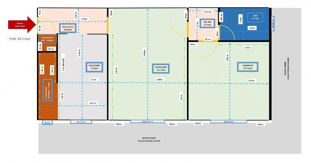 Apartament 2 camere, semidecomandat, parter, zona Sagului - V2193 11