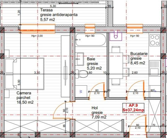 Apartament cu 1 camera + terasa de vanzare in GIROC- ID V71 5