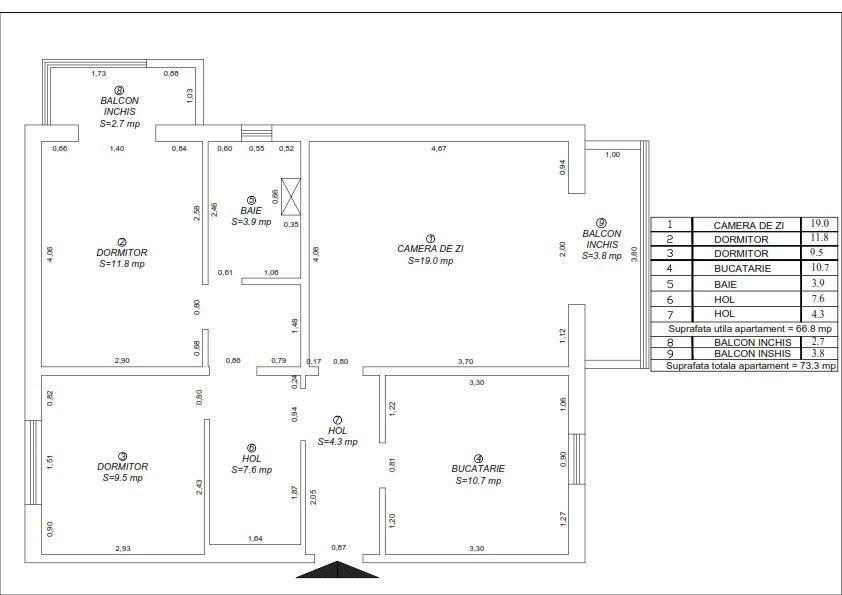 Apartament de vanzare 3 camere, confort 1 decomandat, zona Sagului 21