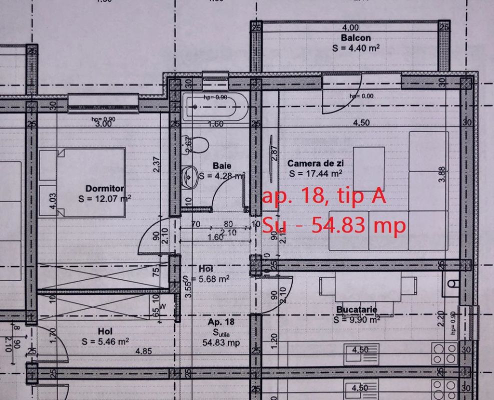 Apartament 2 camere de vanzarebalcon loc de parcare in GIROC - ID V48 8