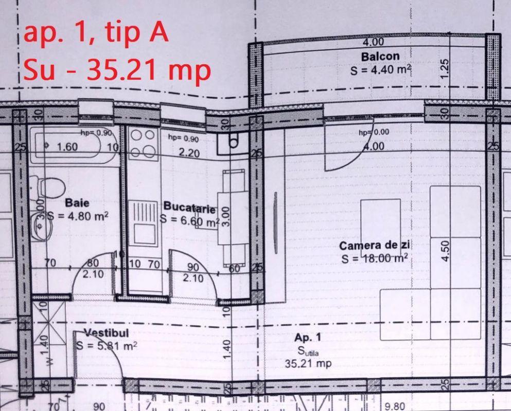 Ap. 1 camera de vanzare balcon si loc de parcare in GIROC - ID V40 4